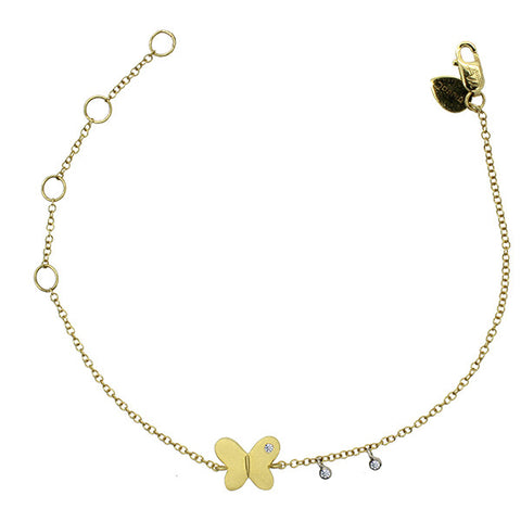 Meira T Children's Collection Brushed Yellow Gold Butterfly Braclet