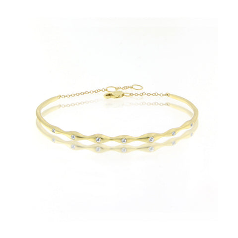 Gold Wave Diamond Cuff