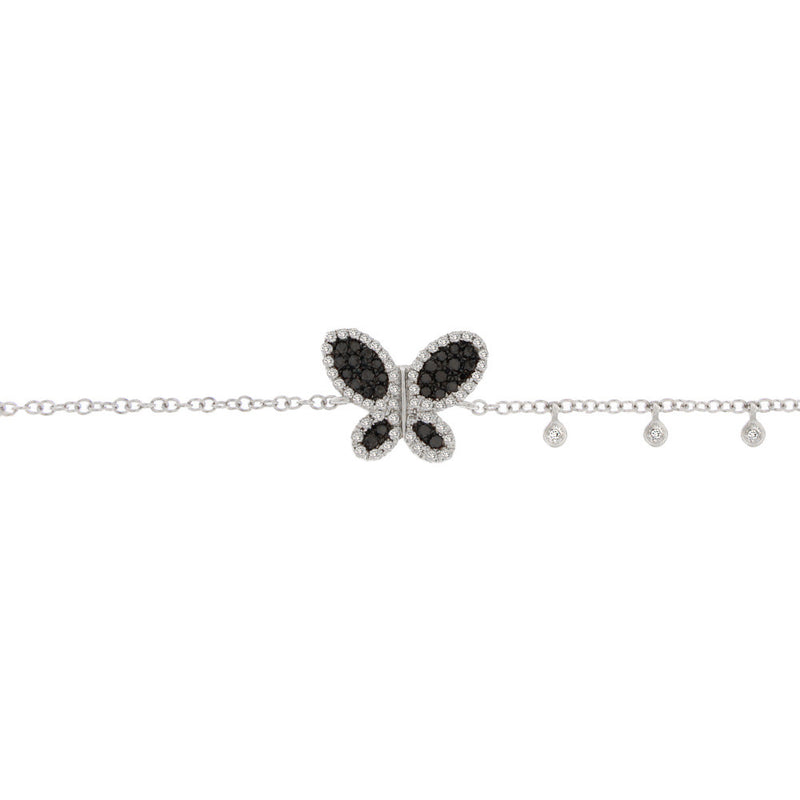 Black Diamond Butterfly Bracelet in White Gold