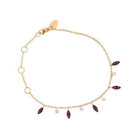 Rose Gold Chain Bracelet with Black Diamond, Ruby & Bezel Evil Eyes