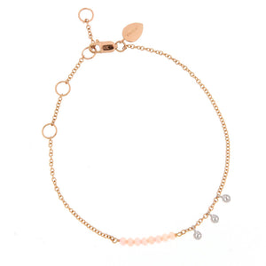 Pink Opal Bead Bracelet with Diamond Bezels