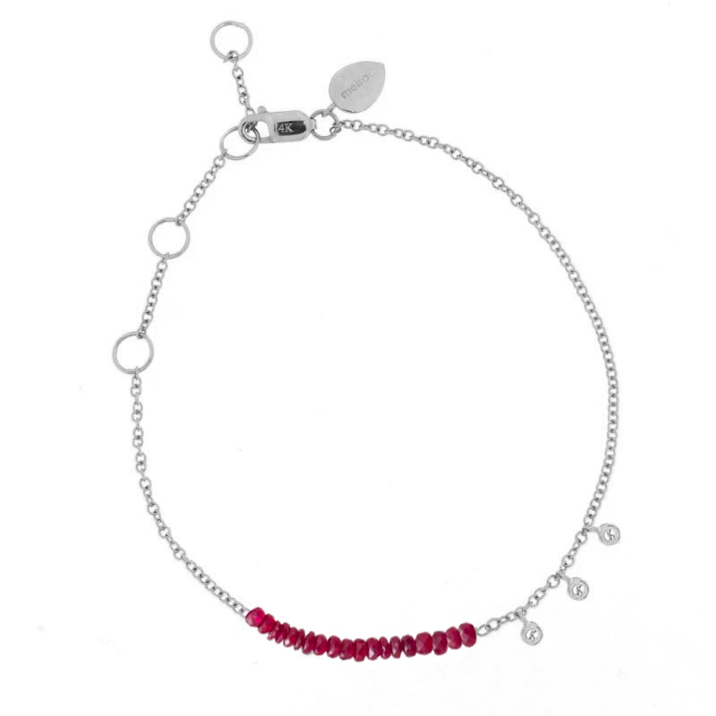 White Gold and Ruby Bead Bracelet