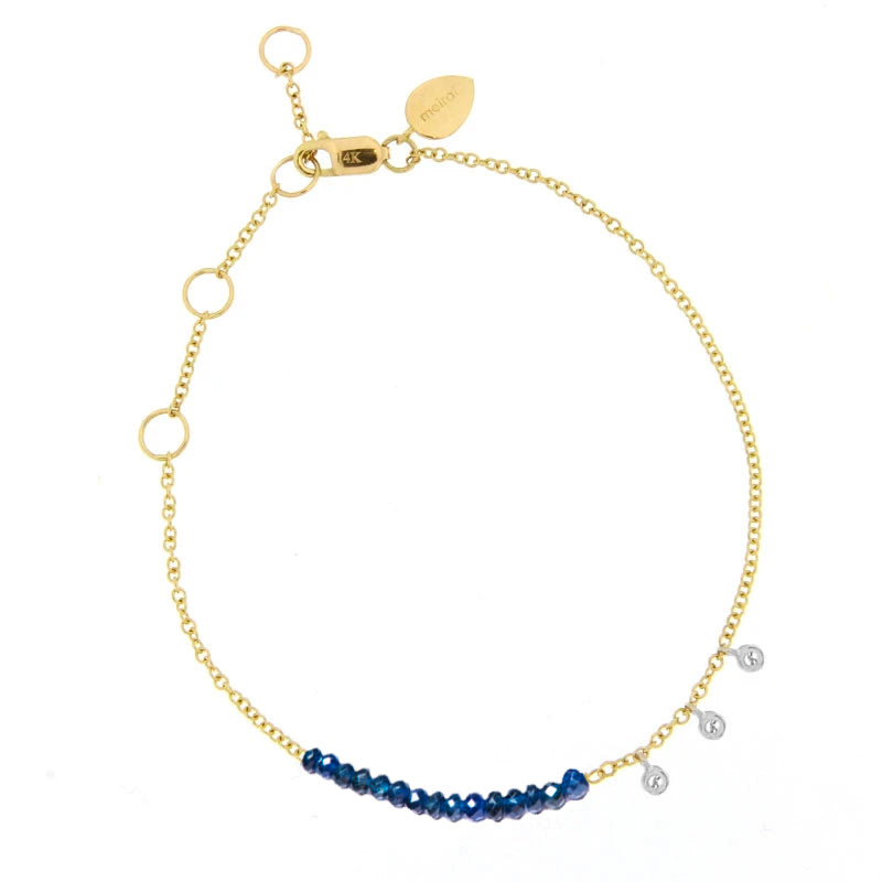 Yellow Gold Blue Sapphire Bracelet with Diamond Bezels