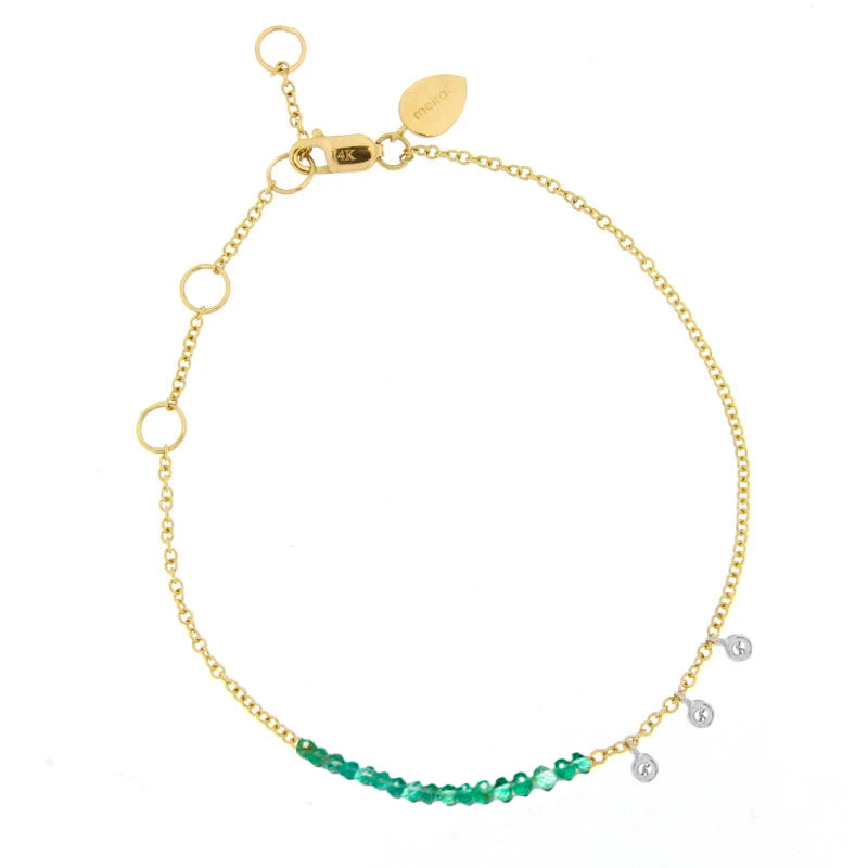 Yellow Gold Emerald and Diamond Bead Bracelet