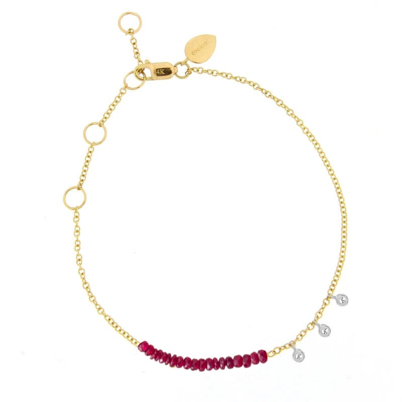 Yellow Gold Ruby Bracelet with Diamonds
