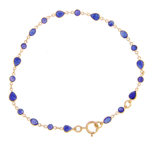 Oval Evil Eye Bracelet Yellow Gold Diamonds Sapphires