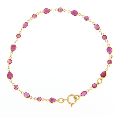 14k Yellow Gold Ruby Chain Bracelet