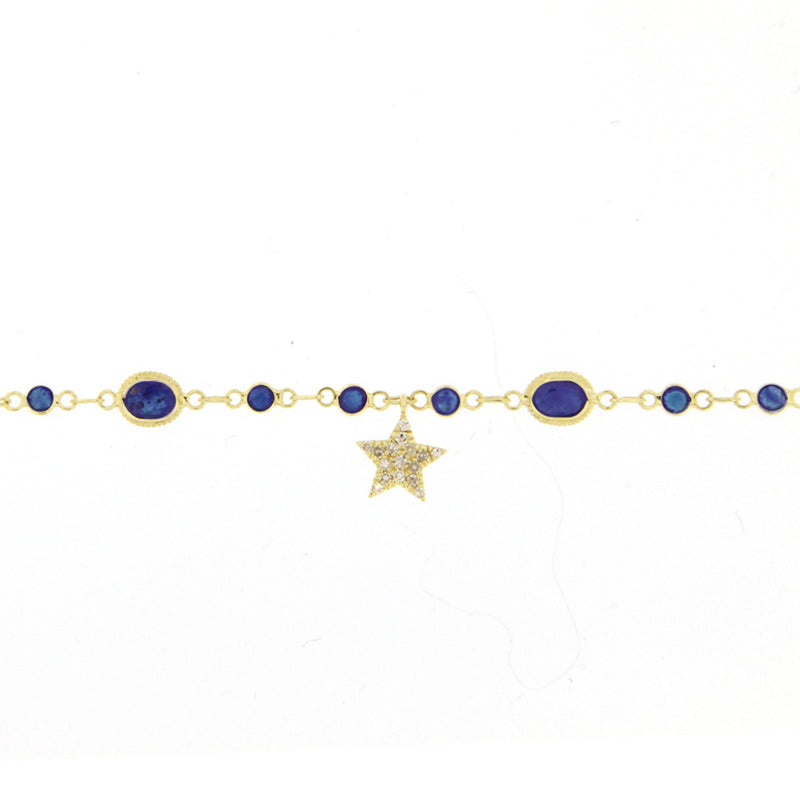 Blue Sapphire Yellow Gold and Diamond Star Bracelet