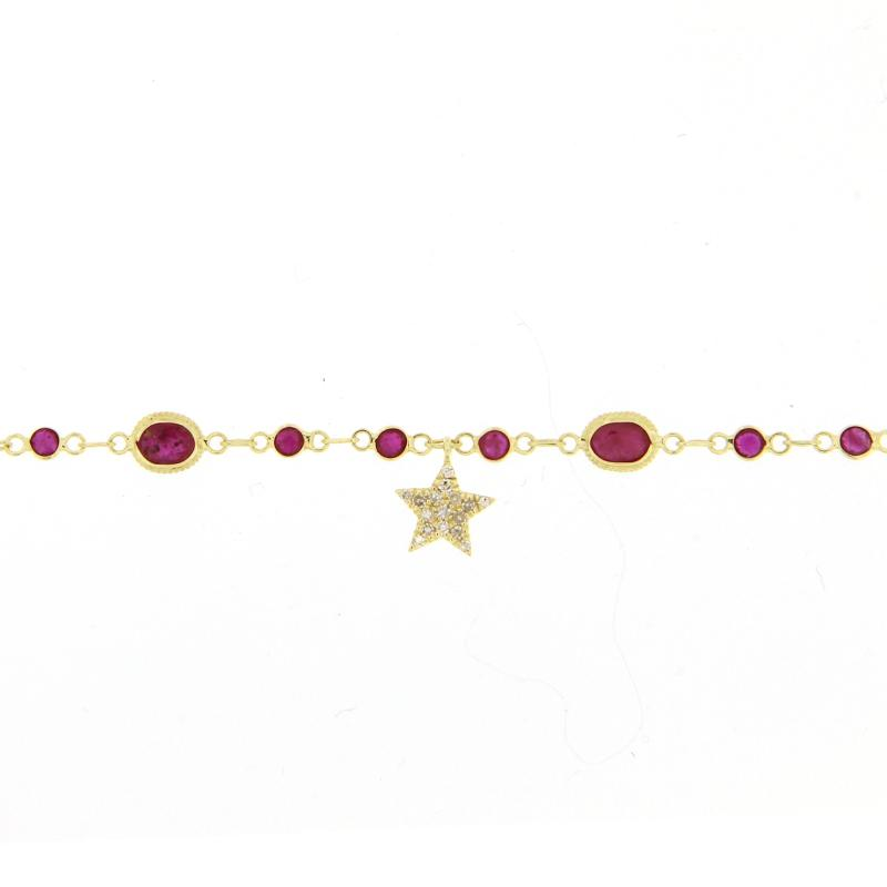 Ruby and Yellow Gold Star Bracelet