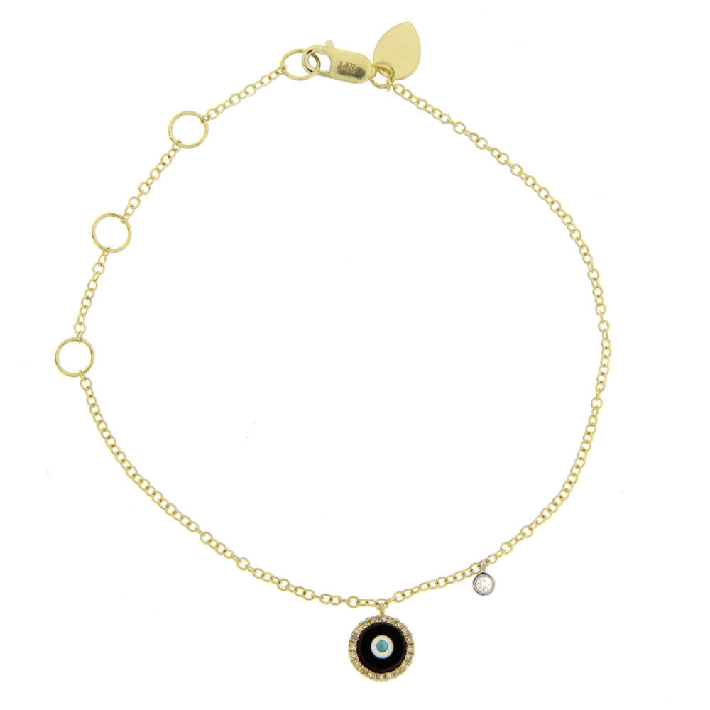 Evil Eye Bracelet with Diamonds and Yellow Gold