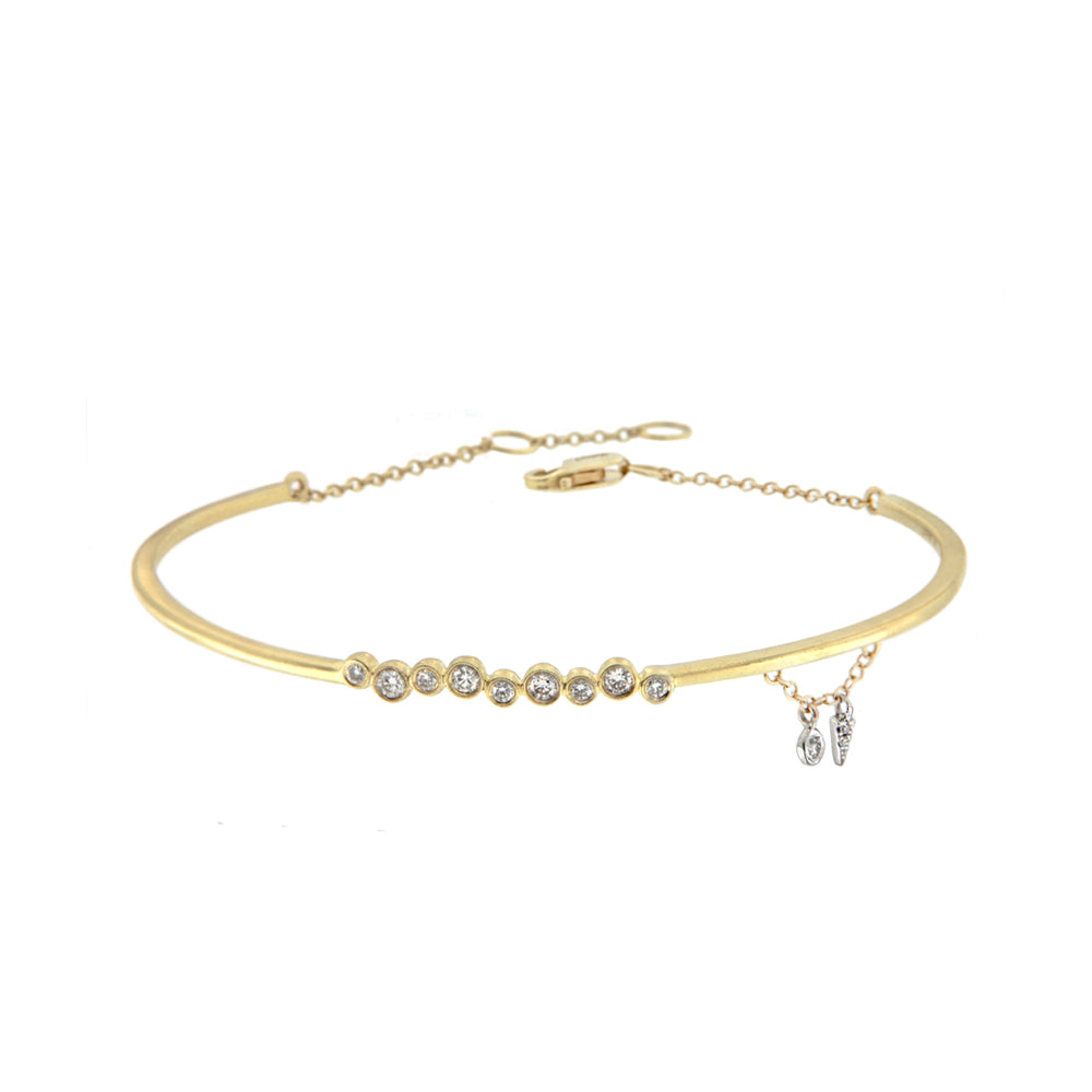 Yellow Gold Diamond Bezel Cuff Bracelet