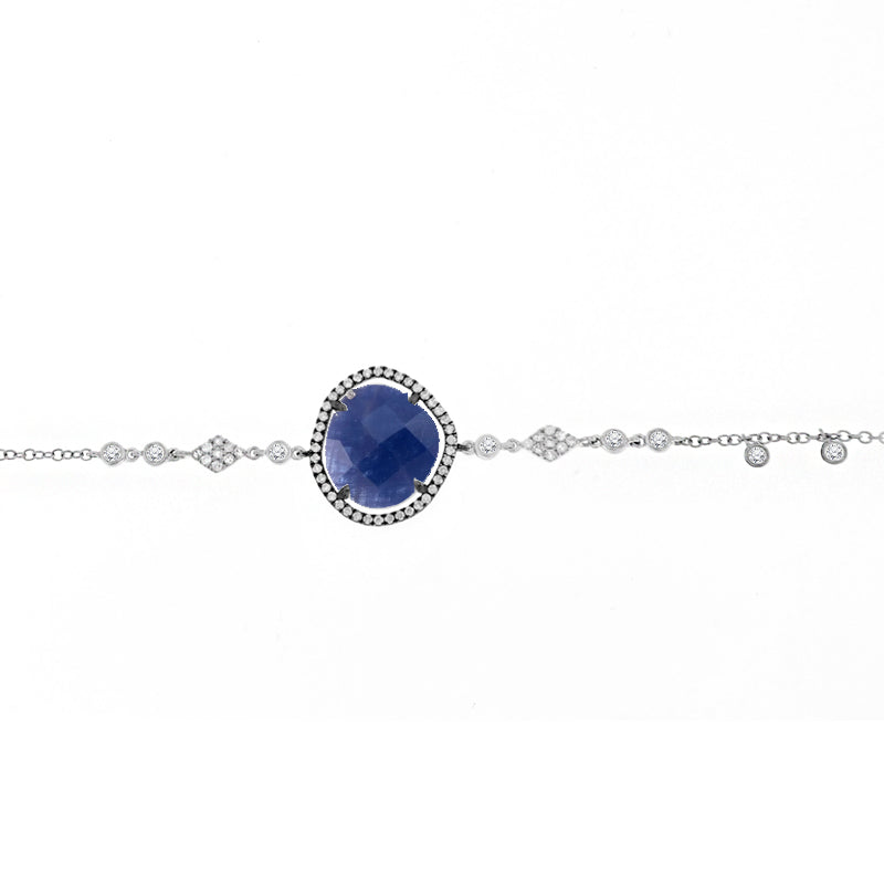 Blue Sapphire and Diamonds Bracelet