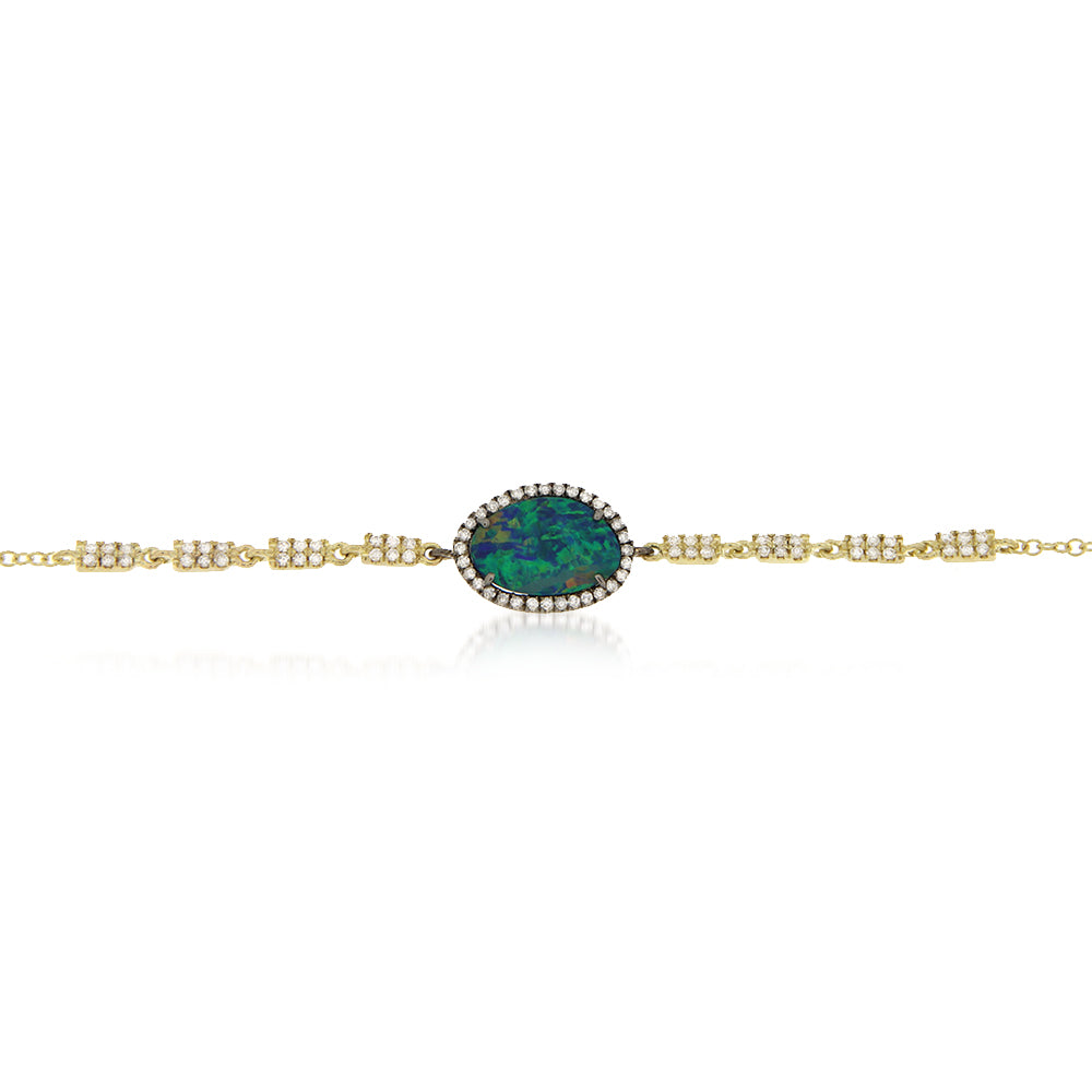 Yellow Gold Opal Pave Bracelet