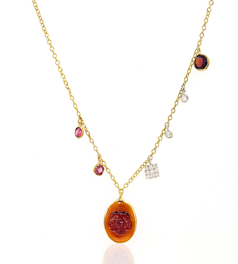 Yellow Gold Garnet Charm Necklace