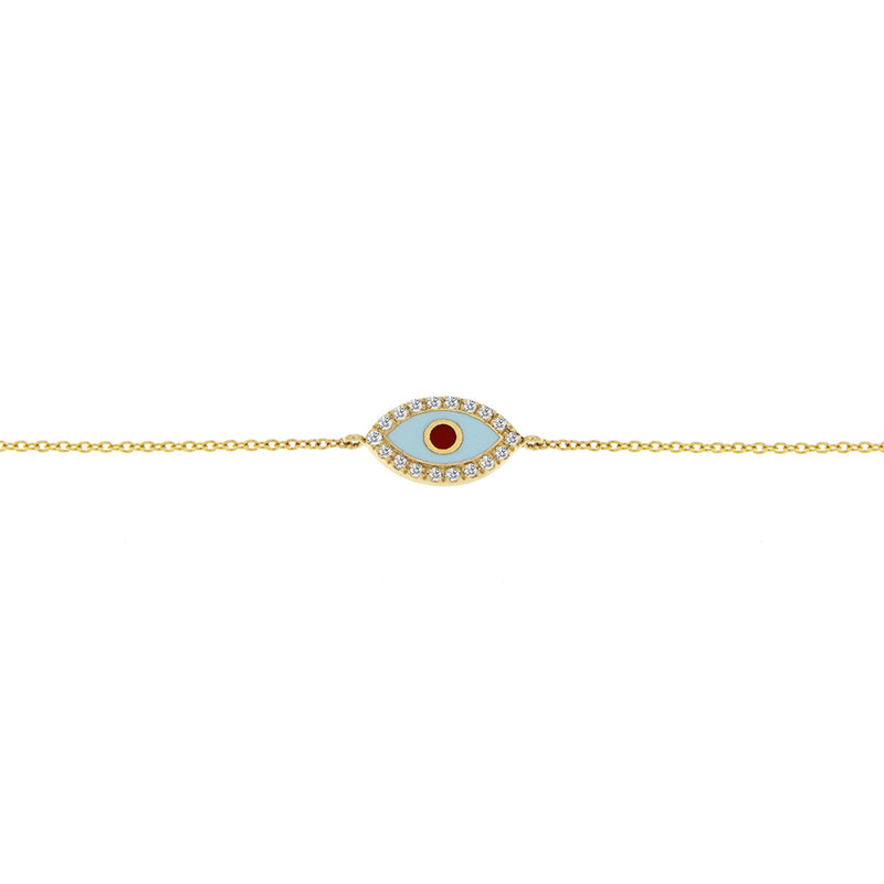 Yellow Gold Enamel Evil Eye Bracelet