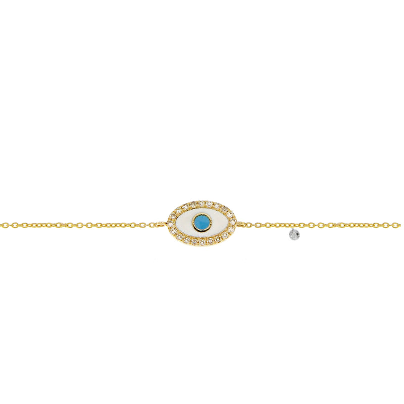 Enamel Yellow Gold Evil Eye Bracelet
