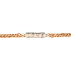 Rose Gold Chunky Chain Love Bracelet