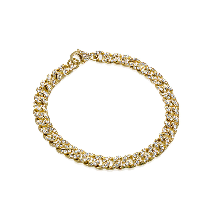 Yellow Gold Chunky Cuban Diamond Link Bracelet