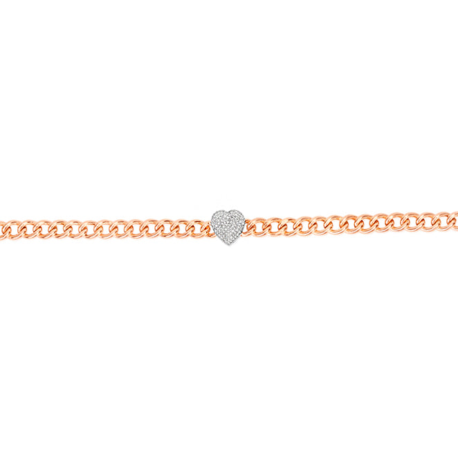 Rose Gold Chunky Chain Heart Bracelet