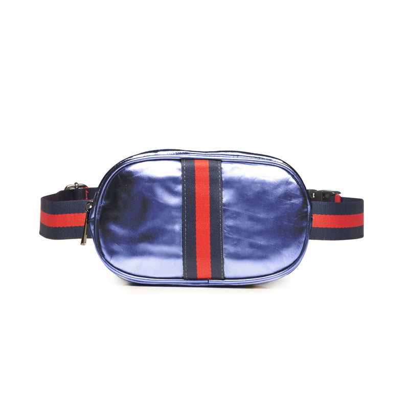 Metallic Contrast Stripe Belt Bag