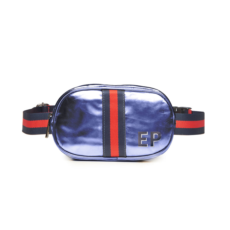 Customizable Initial Blue Metallic Belt Bag Fanny Pack