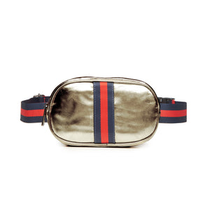 Gold Gunmetal Metallic Oval Belt Bag Fanny Pack