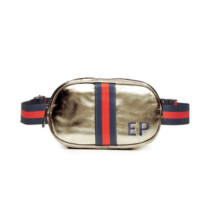 Customizable Initial Dark Gold Metallic Belt Bag Fanny Pack