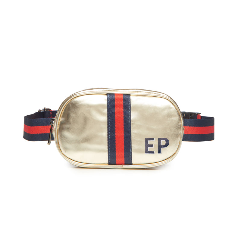 Customizable Initial Gold Metallic Belt Bag Fanny Pack