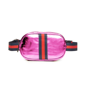 Metallic Pink Oval Belt Bag Fanny Pack