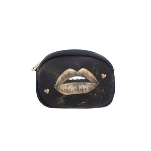 Hand painted Golden Lips Black Belt Bag with Chain Belt Strap and Evening Strap
