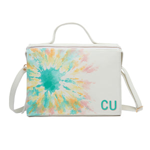 White Handpainted Tie Dye Pastel Meira Bag with Customized Initials