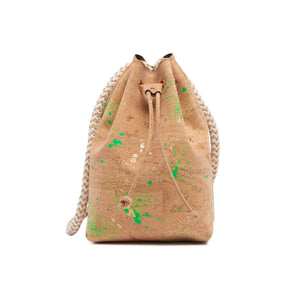Cork Bucket Bag with Neon and Gold Splatter