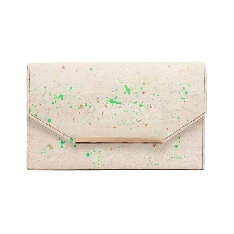 Blond Cork Clutch with Neon and Gold Splatter