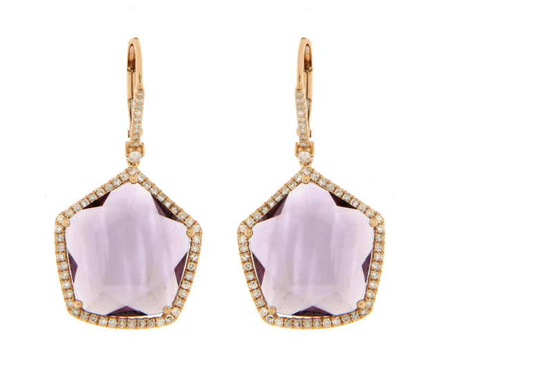 Rose Gold and Amethyst Diamond Earrings Last One