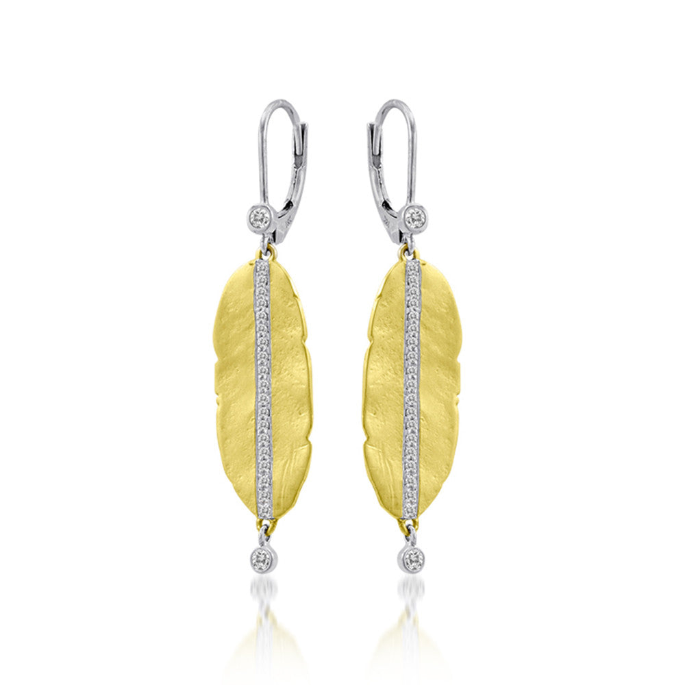 Leaf Yellow Gold Earrings with Diamonds