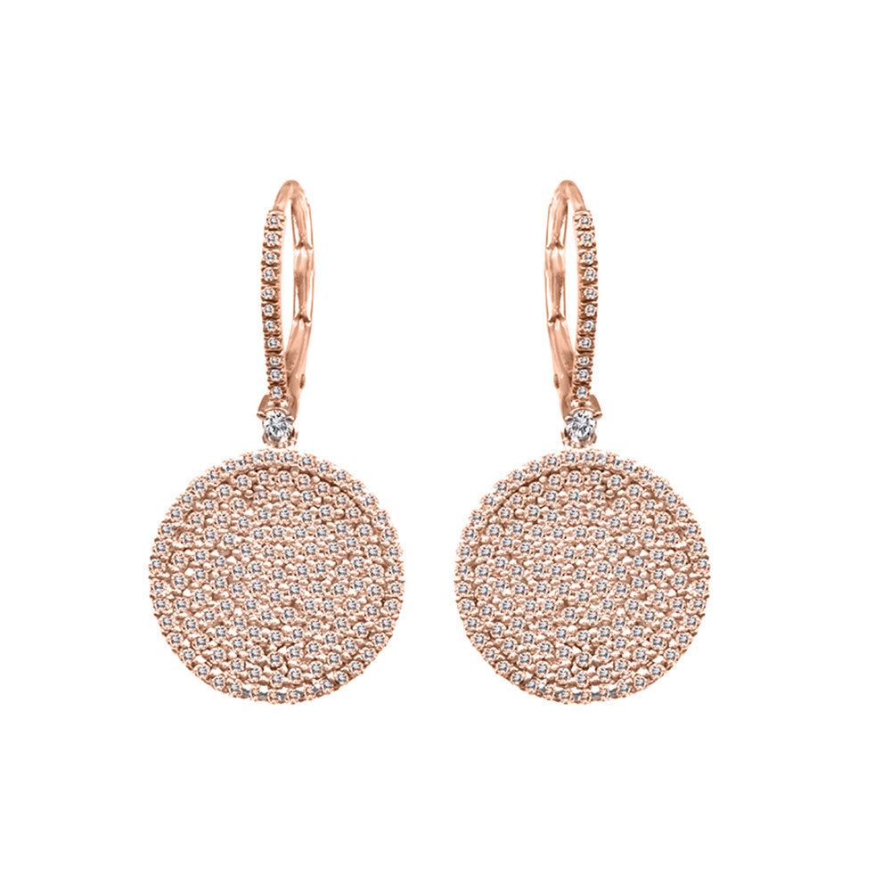 Pave Diamond Rose Gold Earrings