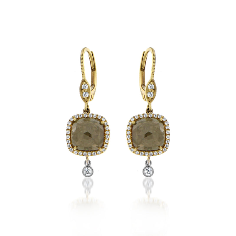Rough Diamond and Bezel Drop Earring