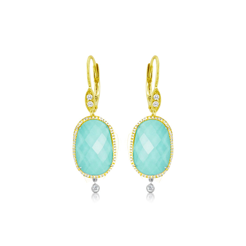 Yellow Gold Turquoise Earrings