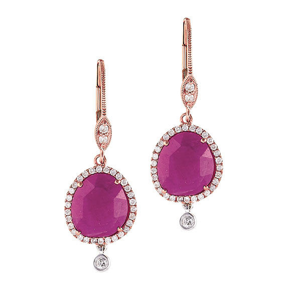 Rose Gold Pink Sapphire and Diamond Earrings