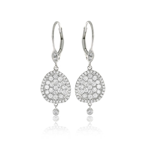 Pave Drop Diamond Earrings