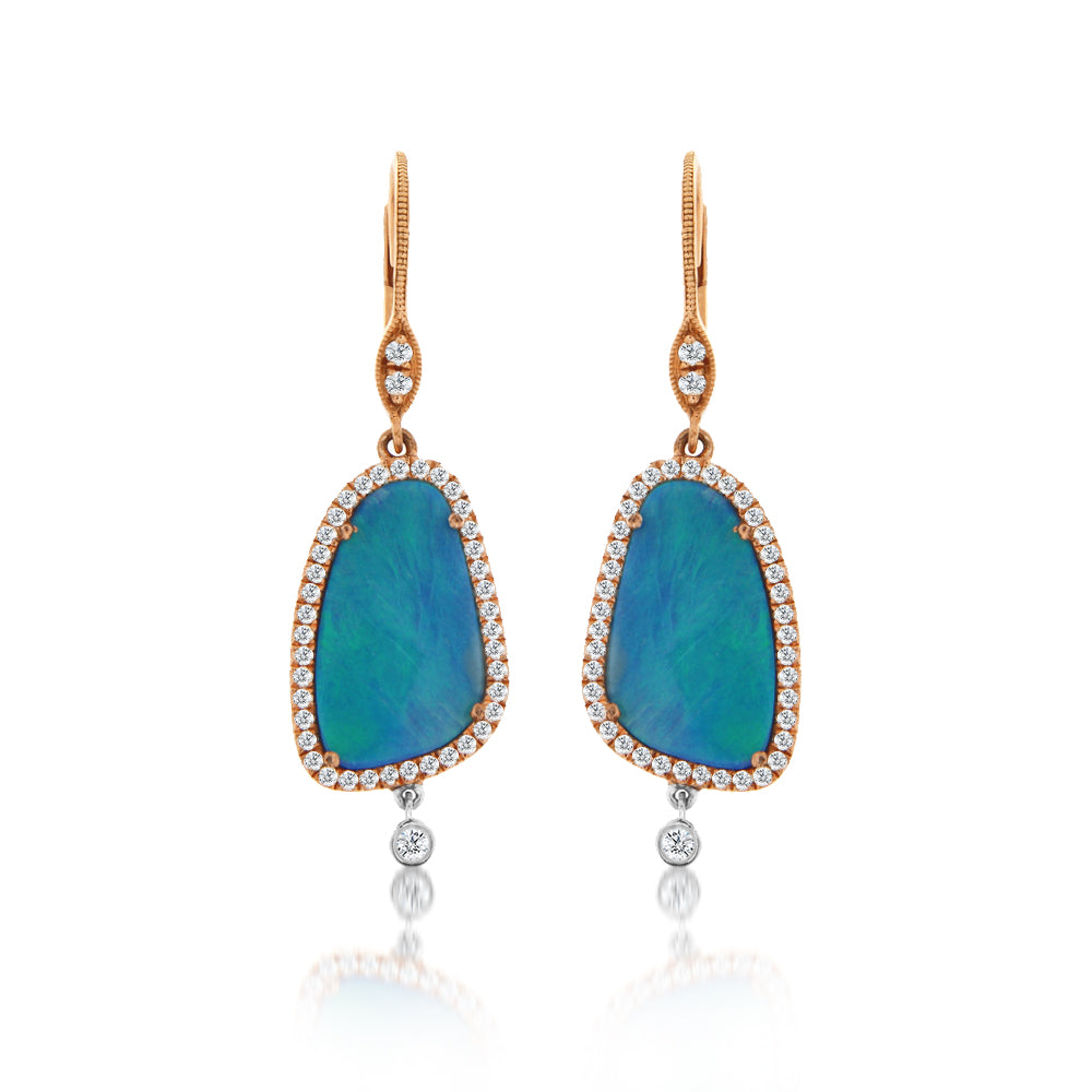 opal diamond halo earrings
