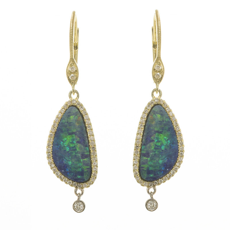 Yellow Gold and Opal Diamond Dangle Earrings