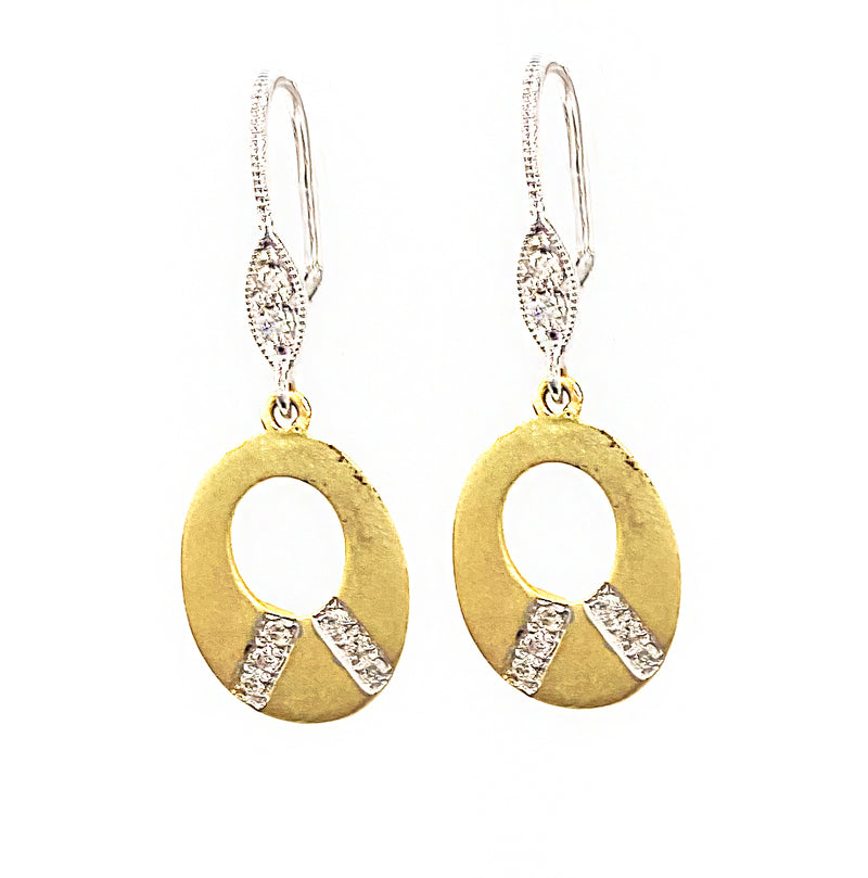 Yellow Gold Brushed Earrings