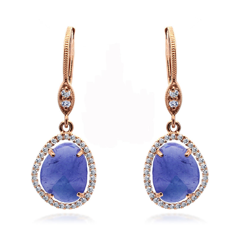 Rose Gold and Tanzanite Drop Earrings