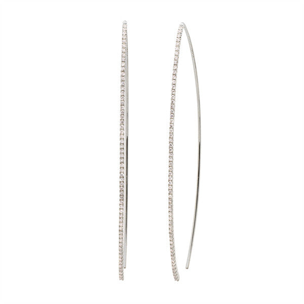 Meira T White Gold Diamond Bar Earrings