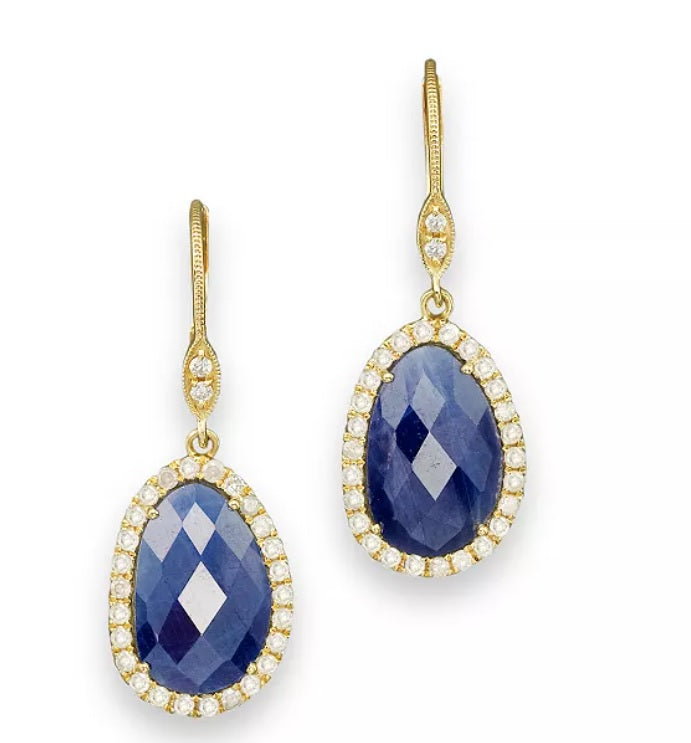 Yellow Gold Blue Sapphire Diamond Earrings