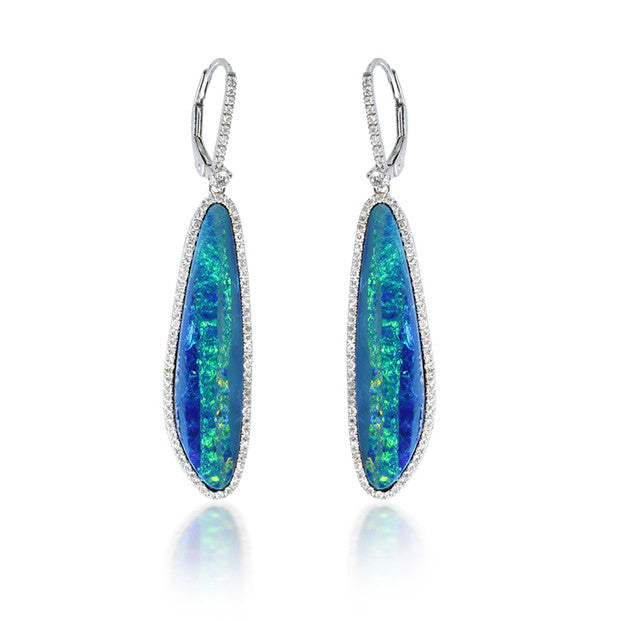White Gold and Diamond Opal Earring