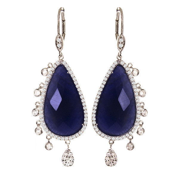 Sapphire Earrings with Bezels