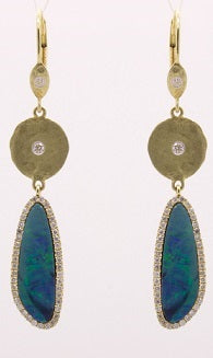 Yellow Gold Opal Earrings