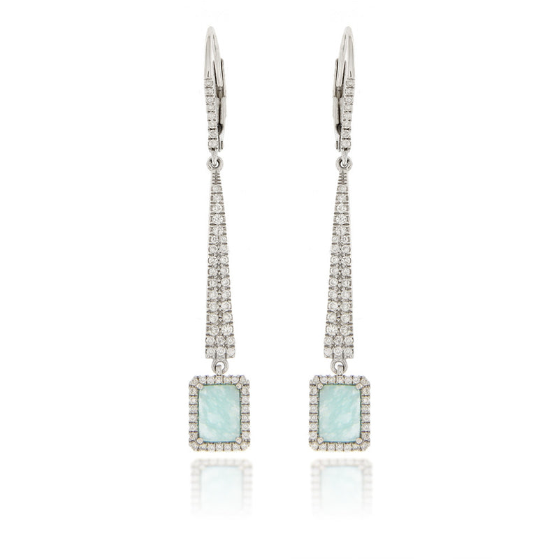 Amazonite White Gold Diamond Earrings